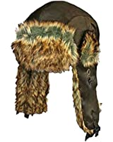 Luxury Divas Faux Fur Trim Trapper Trooper Aviator Cap Hat