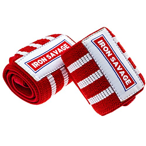 Iron Savage Wrist Wraps For Weight Lifting – 18 inches – Premium Quality Built For Great Wrist Support, Powerlifting, Bodybuilding, Cross Training and Strength Training by