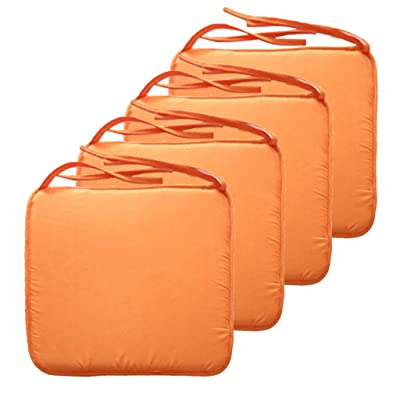 SIMPVALE Square Seat Cushions - Chair Pads with Ties - for Home Garden Patio Indoor Outdoor, 40cmx40cmx1.3cm (Pack of 4, Orange) : Industrial & Scientific