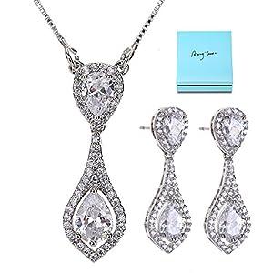 AMYJANE Bridal Jewelry Set for Women - Crystal Cubic Zirconia CZ Rhinestone Necklace Earrings Set for Bridesmaids Wedding Party Prom Bridal Jewelry