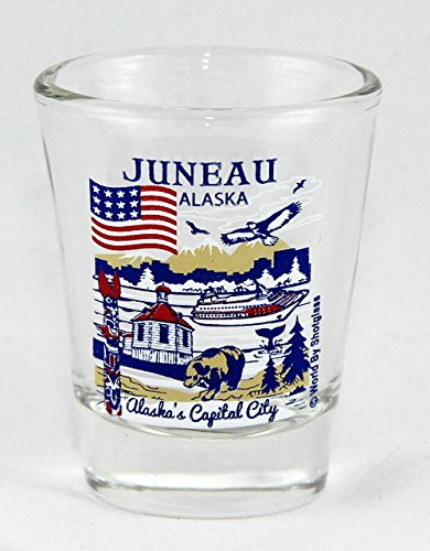 Juneau Alaska Great American Cities Collection Shot Glass - Alaska Glass