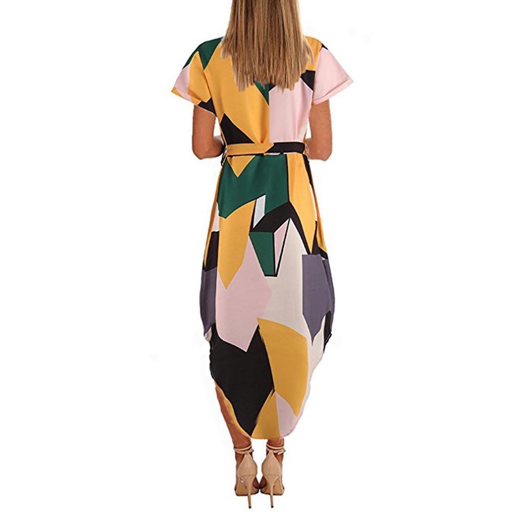Han Shi Womens Geometric Print V Neck Irregular Hem Madi Dress with Belt