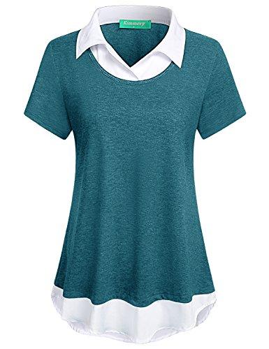 (Kimmery Career Blouses for Women, Ladies Short Sleeve Collared Tunic Shirt A Line Swing Hem Designer Elegant Pullover Breathable Comfy Tops for Juniors Teen Girls Blue Large)