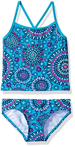 Kanu Surf Big Girls' Melanie Beach Sport 2-Piece Banded Tankini Swimsuit, Aqua, 7