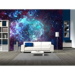 wall26 - Star Field in Space a Nebulae and a Gas Congestion - Removable Wall Mural | Self-adhesive Large Wallpaper - 100x144 inches