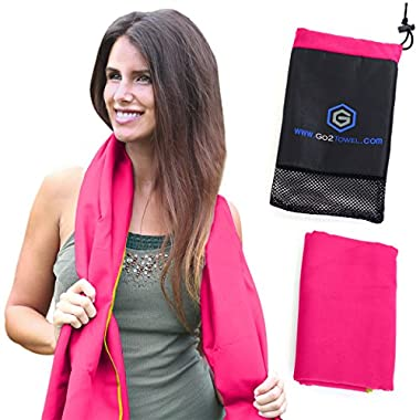 Microfiber Sport Towel & Travel Towel | Size XL [Pink] | Best for Beach Camping Pool Gym Bath | Antibacterial Quick Dry Super Absorbent Light Compact Pack | Includes FREE Bag | Get Toweled NOW!