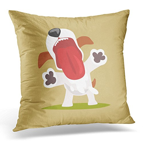 Jack Terrier Russel (Duplins Throw Pillow Cover Adorable Brown Russel Jack Russell Puppy Character with Open Mouth Cute Funny Terrier White Action Decorative Pillow Case Home Decor Square 18x18 Inches Pillowcase)