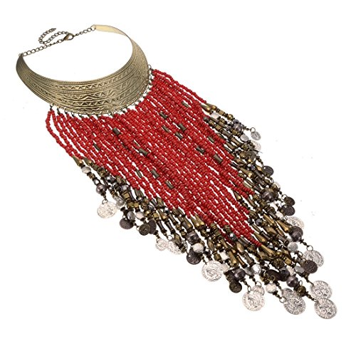 (Jerollin Vintage Jewelry Statement Bib Necklace Red Resin Seed Beads Tassels Tribal Necklace African Necklace for Women&Girls)