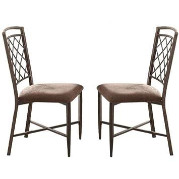 Strange Amazon Com Benjara Benzara Metal Dining Chair With Padded Inzonedesignstudio Interior Chair Design Inzonedesignstudiocom