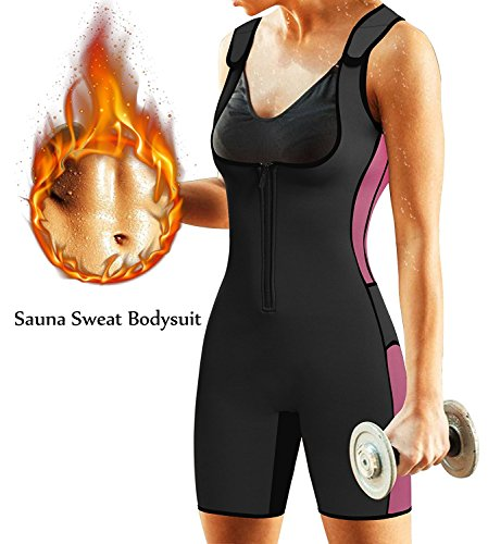 BRABIC Women's Full Body Shapewear Sport Sweat Neoprene Suit,Waist Trainer Bodysuit with Adjustable Straps for Weight Loss (XL, Black Sweat Sauna Suit)