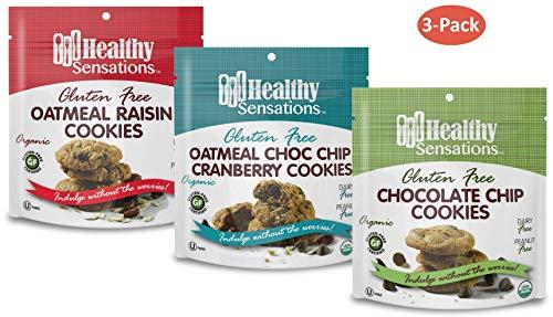 Gluten Free, Organic Cookie Assortment (3-Pack) – Healthy Sensations 5oz Bag – Chocolate Chip, Oatmeal Raisin & Oatmeal…