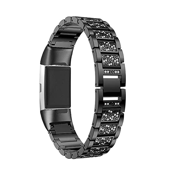 for Fitbit Charge 3 Bands for Women, Aottom Fitbit Charge 3 SE Band  Stainless Steel Rhinestone Diamond Replacement Band Wirst Bands Jewelry  Bracelet