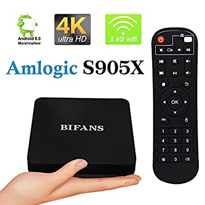Android 6.0 TV Box, BIFANS Pro 1GB/8GB Android Smart TV Box, Amlogic S905X Quad-Core 64 Bits and True 4K HDR Ultra-HD Streaming Media Player with IR Remote Control Black