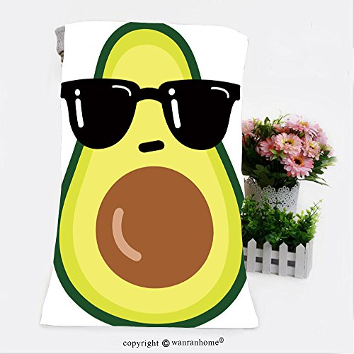 VROSELV Cotton Microfiber Bathroom Bath Towel-illustration cartoon funny avocado icon with black sunglasses isolated on white background vector Custom pattern of household - Sunglasses Wellington