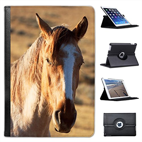 (Spanish Mustang Horse for Apple iPad Mini, iPad Mini 2, iPad Mini Retina, iPad Mini 3 Faux Leather Folio Presenter Case Cover Bag with Stand)
