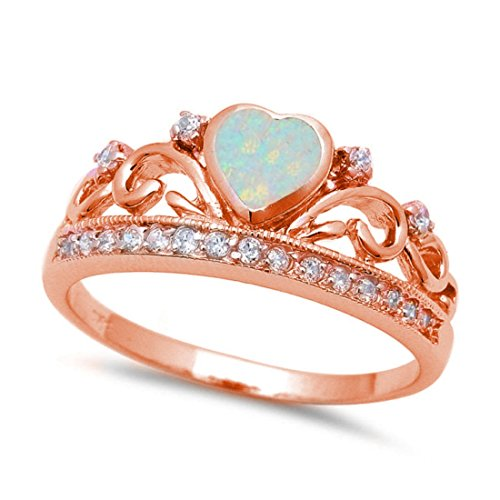 King Queen Crown Ring Lab Created White Opal Round Cubic Zirconia Rose Gold Plated 925 Sterling Silver,