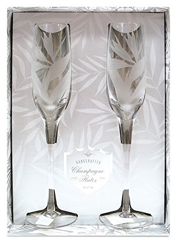 Paradise Etched Glass (Bird of Paradise Etched Champagne Flute Set)