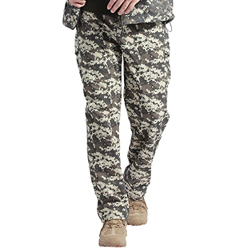 - FREE SOLDIER Fleece Lined Pants Men Softshell Trousers Camping Hiking Water Resistance Pants(ACU Camouflage 36W/31.5L)