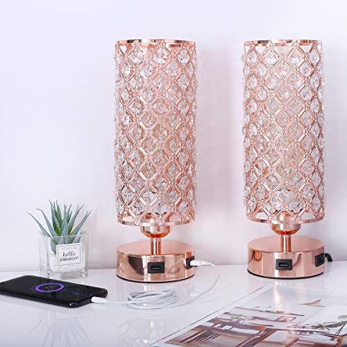 Table Lamp Set of two with Dual USB Ports, Rose Gold Bedside Lamp Touch Pink Lamp with for Bedroom Living Room, Bulbs Included