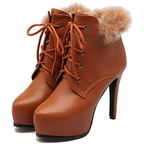 Women Stiletto Brown KemeKiss Warm Booties 1Hvvzq