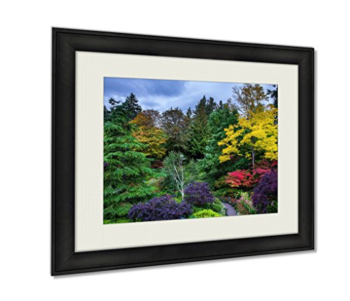 Butchart Gardens Framed (Ashley Framed Prints, Butchart Gardens A Set Of Amazingly Beautiful Gardens On Vancouver Island Wall Art Decor Giclee Photo Print In Black Wood Frame, Soft White Matte, Ready to hang, 24x30 Art)