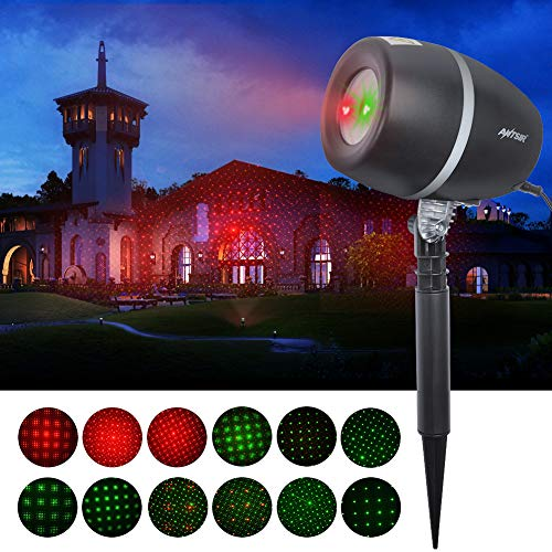 MUSEN Christmas [Starry Stage Projector Lights] Waterproof Spotlights with Red & Green Projector Lights for Outdoor&Indoor (Garden, Yard, Wall, Party, KTV, Wedding, Night -