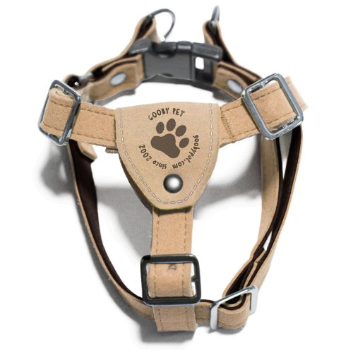 Gooby - Luxury Dog Harness, Small Dog Step-in Harness with Microsuede Straps and Three Point Adjustables, Tan, Medium