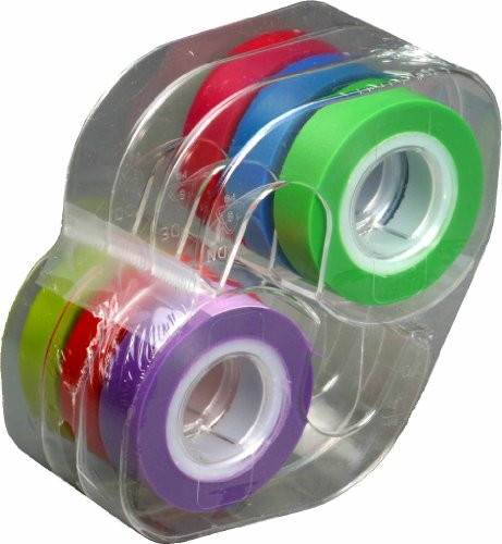 1 Highlighter - Lee Removable Highlighter Tape, 1 Roll of Each of 6 Standard Colors, 1/2-Inch Wide x 720-Inch Long, With Dispenser (13888)