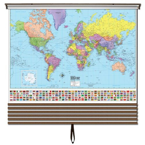 Advanced Political Wall Maps Set-Roller w/Backboard;7-Map Choices and Mounting Hardware Included