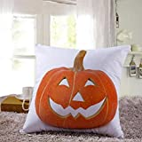 Cotton Linen Square Decorative Throw Pillow Case Personalized Cushion Cover Halloween Gifts Ghost Bats Pumpkin and Owls Trick or Treat By WuyiMC(A-P) (J)