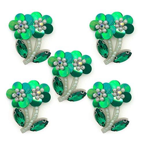 HAND ® No.18 Grüne Blumesequin, Perlenschnur und Crystal Sew-On Borte - Verzierungen für Kleidung, Accessoires - Packung mit 5 Stück