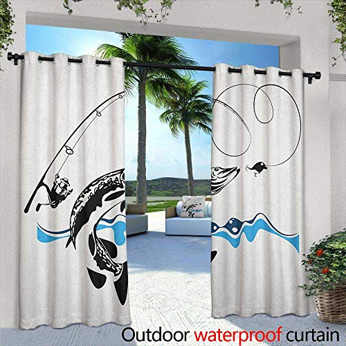 LOVEEO Fishing Indoor/Outdoor Curtains Big Pike Fish Catching Wobblers Reel Trap in River Raptorial Predator Hunting Print Darkening Thermal Insulated Blackout 84