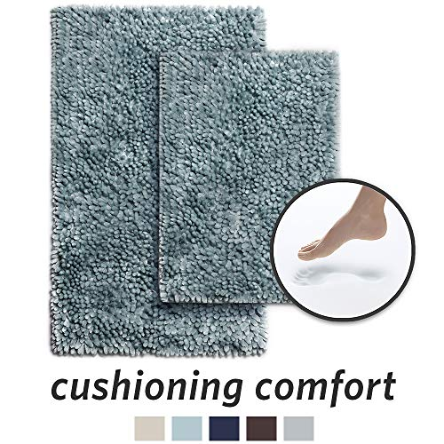 (MICRODRY SoftGloss Shiny Absorbent Shag Chenille Memory Foam Bath Mat with GripTex Skid-Resistant Base, 2-Piece Set, Aqua)