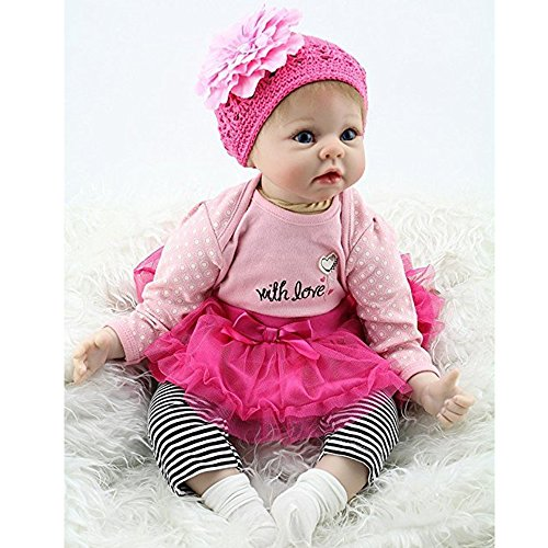 Yesteria 22 Inches Silicone Reborn Baby Dolls Girl Look Real Rose Red Tutu Skirt with Striped Pants by Yesteria (Image #3)