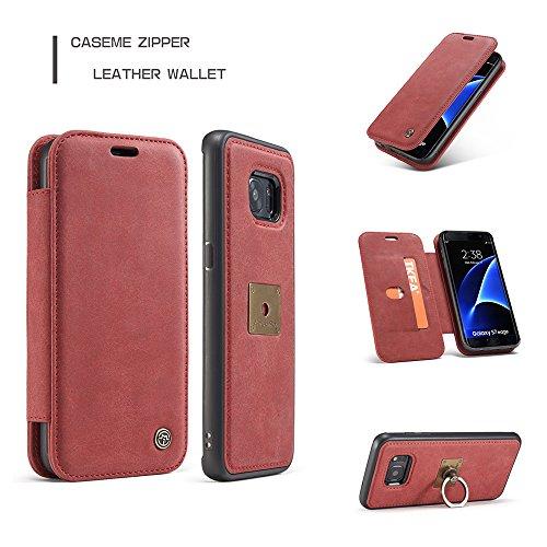 Grandcaser Funda para Samsung Galaxy S7,Rugged Armor Premium Cuero Protectora Book Style Cover Case Flip Carcasa con Función de Desmontable Anillo Ring Stand - Amarillo Rojo