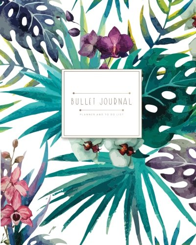 Bullet journal for quarterly ( 6 months blank calendar ): Tropical Forest navy blue tone and inside has HABITS tracker (Tropical Forest In Watercolor) (Volume 1)