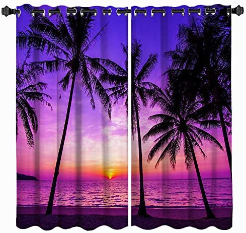 VividHome Tropical Window Curtain Palm Tree on Beach at Purple Sunset Landscape Print Window Curtain Living Room Bedroom Window Drapes 2 Panel Set