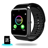 WGHL Wearable Bluetooth Touch Screen Smart Watch with Camera and SIM Card Slot for Android Samsung HTC LG SONY (Full Functions) IOS iPhone 5 / 5s / 6 / 6plus / 7(Partial functions) (Black)