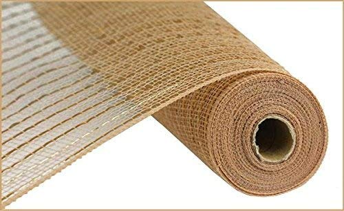 Matte Wide Foil Deco Poly Mesh Ribbon, 10 Inches x 30 Feet (Matte Champagne) -