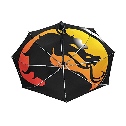 Mortal Kombat 3 Scorpion Costume (Dragon Print Lightweight UPF 50+ Anti-UV Parasol Waterproof Windproof Reverse 3 Folds Auto Open Close Umbrella)