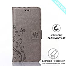 Huawei Y6 Case, LIKESEA Butterfly Floral Series Leather Wallet Case Flip Cover with Card Slot and Magnetic Closure for Huawei Y6 - Gray