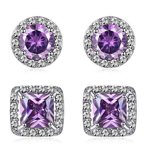 Quinlivan Duo 2pairs Cubic Zirconia Stud Earrings 10mm, Round Square Cut Rhinestone Halo Earrings Hypoallergenic for Women, Girls (purple)