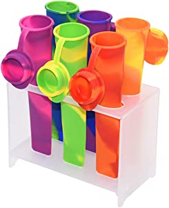 Motishops Silicone DIY Popsicle Ice Pop Makers with Stand, Homemade Molds Set, Multi-purpose food snack storage.