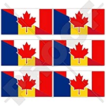 """CANADA & ROMANIA, Canadian-Romanian Flag 40mm (1,6"""") Mobile Cell Phone Vinyl Mini Stickers, Decals x6"""