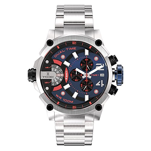 Timecode Albert 1906 TC-1003-08 Stainless steel 50mm Men's Watch BLACK BLUE RED dial with WHITE accents on a Stainless steel bracelet with Date, Dual time and Chronograph movement(s)