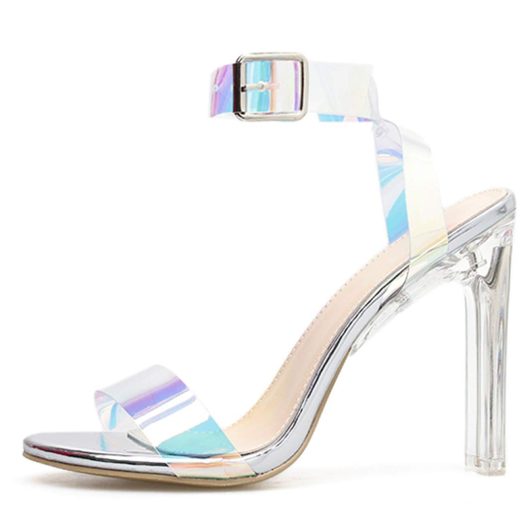 Women's Sexy Clear Silver Open Toe High-Heel Ankle Strap Crystal Block Heel Sandals - DeluxeAdultCostumes.com