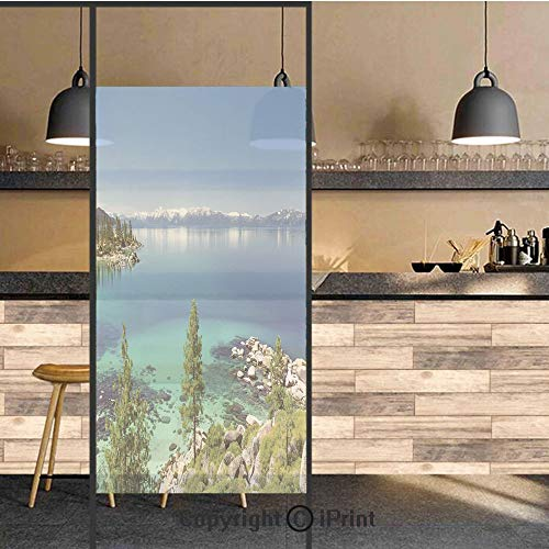 (3D Decorative Privacy Window Films,Tranquil View of Lake Tahoe Sierra Pines on Rocks with Turquoise Waters Shoreline,No-Glue Self Static Cling Glass film for Home Bedroom Bathroom Kitchen Office 17.5x)