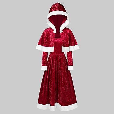 CLOOM Navidad Rojo Vestido Terciopelo Mujer con Chal con Capucha ...