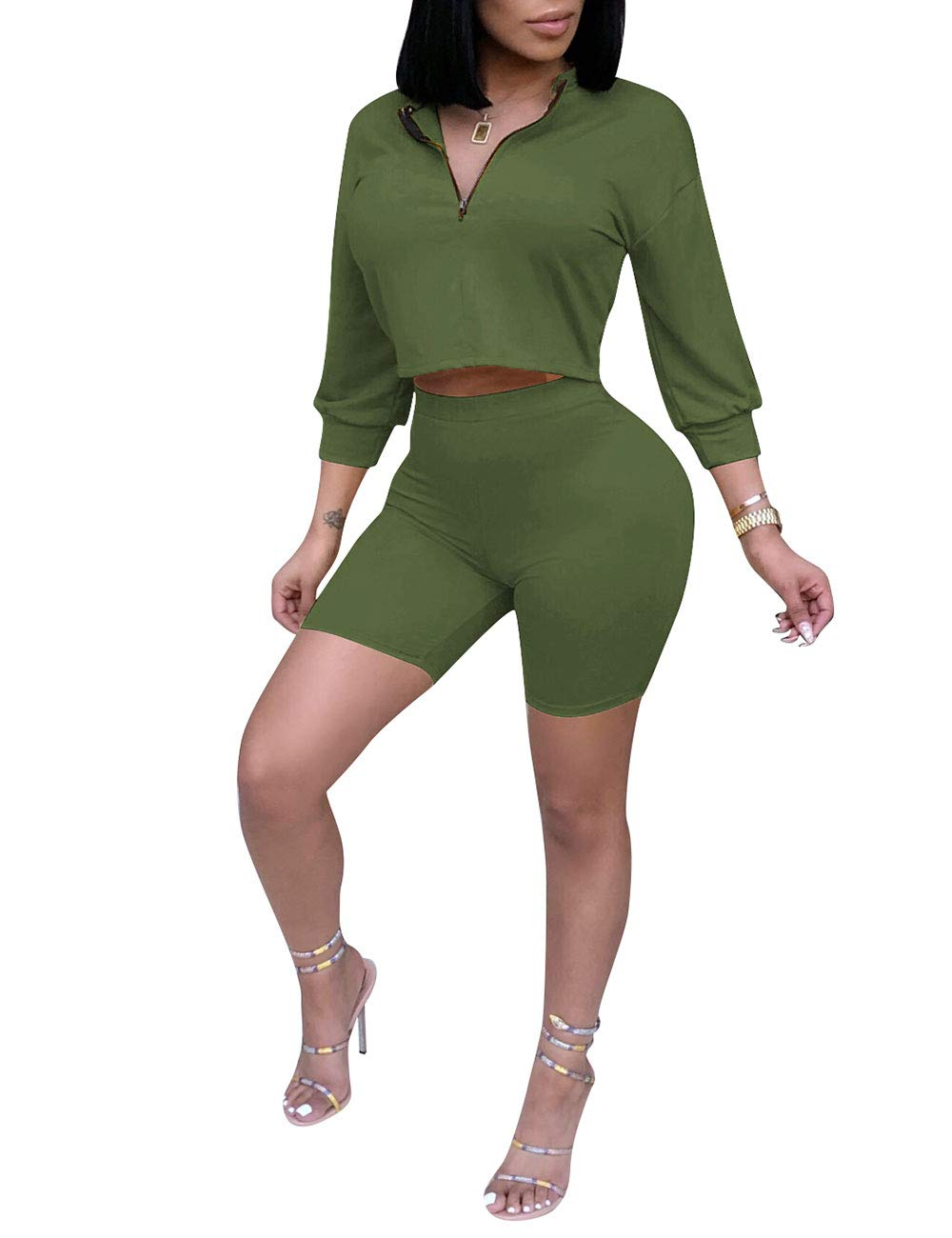 Women Bodycon 2 Piece Shorts Set 3/4 Sleeve Crop Tops and Short Pants Club Outfits Green M
