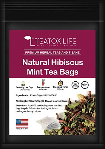 Hibiscus Tea Bags| Hibiscus Dried flowers herbal tea with peppermint and stevia for high blood pressure support| Made in USA - 30 threadless tea bags